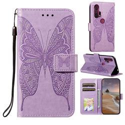 Intricate Embossing Vivid Butterfly Leather Wallet Case for Moto Motorola Edge Plus - Purple
