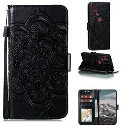 Intricate Embossing Datura Solar Leather Wallet Case for Moto Motorola Edge Plus - Black