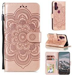 Intricate Embossing Datura Solar Leather Wallet Case for Moto Motorola Edge Plus - Rose Gold