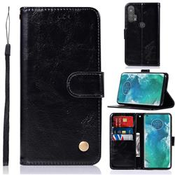 Luxury Retro Leather Wallet Case for Moto Motorola Edge Plus - Black