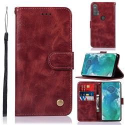 Luxury Retro Leather Wallet Case for Moto Motorola Edge Plus - Wine Red