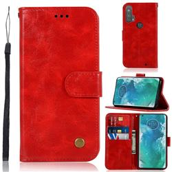 Luxury Retro Leather Wallet Case for Moto Motorola Edge Plus - Red