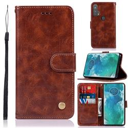 Luxury Retro Leather Wallet Case for Moto Motorola Edge Plus - Brown