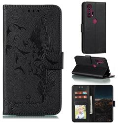 Intricate Embossing Lychee Feather Bird Leather Wallet Case for Moto Motorola Edge Plus - Black