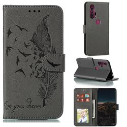 Intricate Embossing Lychee Feather Bird Leather Wallet Case for Moto Motorola Edge Plus - Gray