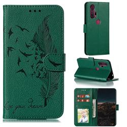 Intricate Embossing Lychee Feather Bird Leather Wallet Case for Moto Motorola Edge Plus - Green