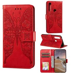 Intricate Embossing Rose Flower Butterfly Leather Wallet Case for Moto Motorola Edge Plus - Red