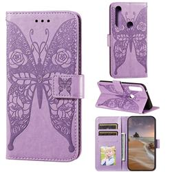 Intricate Embossing Rose Flower Butterfly Leather Wallet Case for Moto Motorola Edge Plus - Purple
