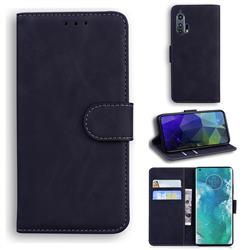 Retro Classic Skin Feel Leather Wallet Phone Case for Moto Motorola Edge Plus - Black