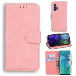 Retro Classic Skin Feel Leather Wallet Phone Case for Moto Motorola Edge Plus - Pink
