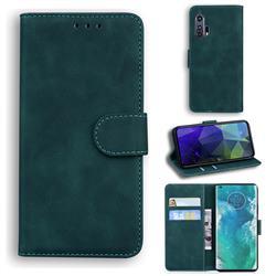 Retro Classic Skin Feel Leather Wallet Phone Case for Moto Motorola Edge Plus - Green