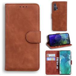 Retro Classic Skin Feel Leather Wallet Phone Case for Moto Motorola Edge Plus - Brown