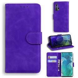 Retro Classic Skin Feel Leather Wallet Phone Case for Moto Motorola Edge Plus - Purple