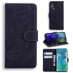 Intricate Embossing Tiger Face Leather Wallet Case for Moto Motorola Edge Plus - Black