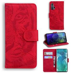 Intricate Embossing Tiger Face Leather Wallet Case for Moto Motorola Edge Plus - Red