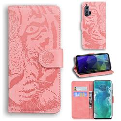 Intricate Embossing Tiger Face Leather Wallet Case for Moto Motorola Edge Plus - Pink