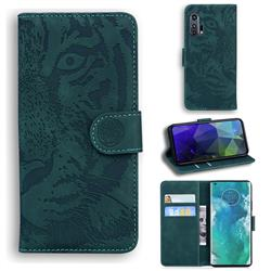 Intricate Embossing Tiger Face Leather Wallet Case for Moto Motorola Edge Plus - Green