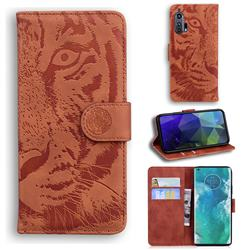 Intricate Embossing Tiger Face Leather Wallet Case for Moto Motorola Edge Plus - Brown