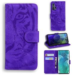 Intricate Embossing Tiger Face Leather Wallet Case for Moto Motorola Edge Plus - Purple