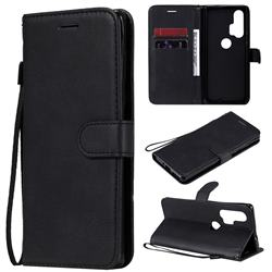 Retro Greek Classic Smooth PU Leather Wallet Phone Case for Moto Motorola Edge Plus - Black