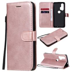 Retro Greek Classic Smooth PU Leather Wallet Phone Case for Moto Motorola Edge Plus - Rose Gold