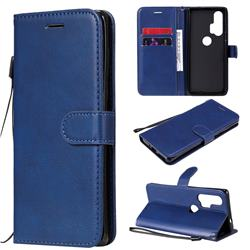 Retro Greek Classic Smooth PU Leather Wallet Phone Case for Moto Motorola Edge Plus - Blue