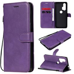 Retro Greek Classic Smooth PU Leather Wallet Phone Case for Moto Motorola Edge Plus - Purple