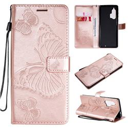 Embossing 3D Butterfly Leather Wallet Case for Moto Motorola Edge Plus - Rose Gold
