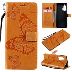 Embossing 3D Butterfly Leather Wallet Case for Moto Motorola Edge Plus - Yellow