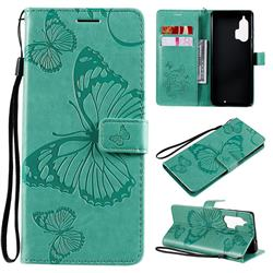 Embossing 3D Butterfly Leather Wallet Case for Moto Motorola Edge Plus - Green