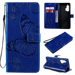 Embossing 3D Butterfly Leather Wallet Case for Moto Motorola Edge Plus - Blue