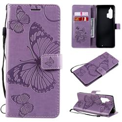 Embossing 3D Butterfly Leather Wallet Case for Moto Motorola Edge Plus - Purple