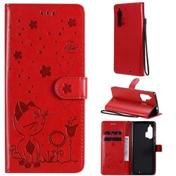 Embossing Bee and Cat Leather Wallet Case for Moto Motorola Edge Plus - Red