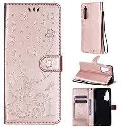 Embossing Bee and Cat Leather Wallet Case for Moto Motorola Edge Plus - Rose Gold