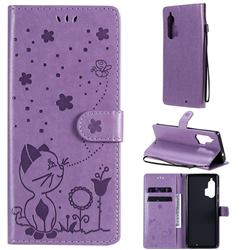 Embossing Bee and Cat Leather Wallet Case for Moto Motorola Edge Plus - Purple