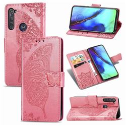 Embossing Mandala Flower Butterfly Leather Wallet Case for Motorola Moto G Pro - Pink