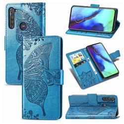 Embossing Mandala Flower Butterfly Leather Wallet Case for Motorola Moto G Pro - Blue