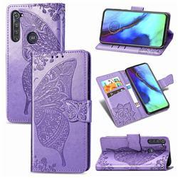 Embossing Mandala Flower Butterfly Leather Wallet Case for Motorola Moto G Pro - Light Purple