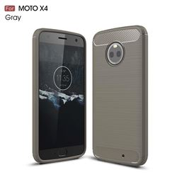 Luxury Carbon Fiber Brushed Wire Drawing Silicone TPU Back Cover for Motorola Moto X4 (4th gen.) (Gray)
