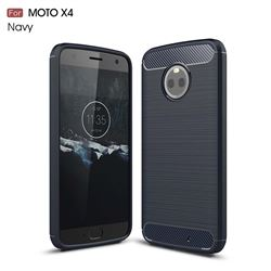 Luxury Carbon Fiber Brushed Wire Drawing Silicone TPU Back Cover for Motorola Moto X4 (4th gen.) (Navy)