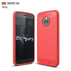 Luxury Carbon Fiber Brushed Wire Drawing Silicone TPU Back Cover for Motorola Moto X4 (4th gen.) (Red)