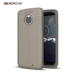Luxury Auto Focus Litchi Texture Silicone TPU Back Cover for Motorola Moto X4 (4th gen.) - Gray