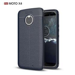 Luxury Auto Focus Litchi Texture Silicone TPU Back Cover for Motorola Moto X4 (4th gen.) - Dark Blue