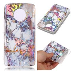 Gold Plating Marble Pattern Bright Color Laser Soft TPU Case for Motorola Moto X4 (4th gen.)