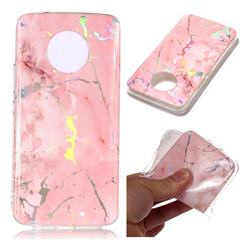 Powder Pink Marble Pattern Bright Color Laser Soft TPU Case for Motorola Moto X4 (4th gen.)