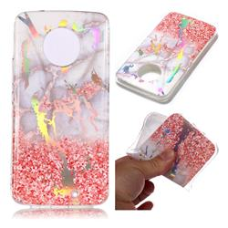 Powder Sandstone Marble Pattern Bright Color Laser Soft TPU Case for Motorola Moto X4 (4th gen.)