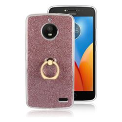 Luxury Soft TPU Glitter Back Ring Cover with 360 Rotate Finger Holder Buckle for Motorola Moto E4 (USA) - Pink
