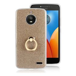 Luxury Soft TPU Glitter Back Ring Cover with 360 Rotate Finger Holder Buckle for Motorola Moto E4 (USA) - Golden