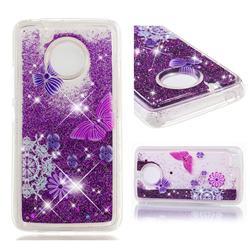 Purple Flower Butterfly Dynamic Liquid Glitter Quicksand Soft TPU Case for Motorola Moto E4 (USA)