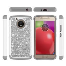 Glitter Rhinestone Bling Shock Absorbing Hybrid Defender Rugged Phone Case Cover for Motorola Moto E4 (USA) - Gray
